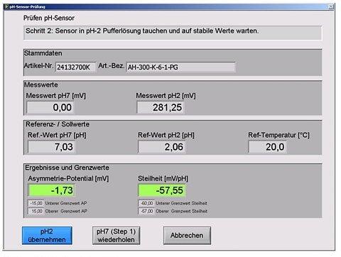 Benutzeroberfläche Prüfstand pH-Sensoren