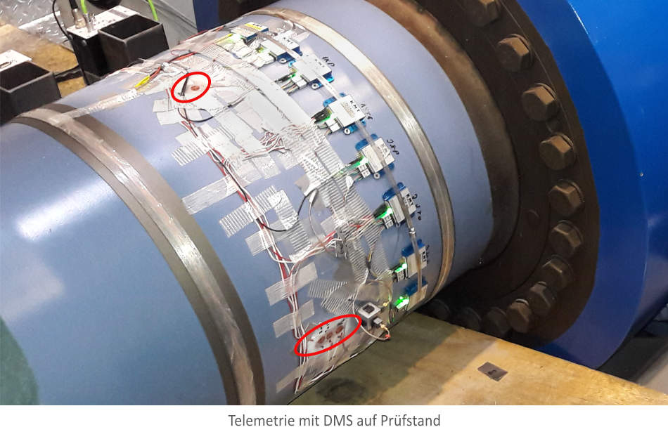 DMS mit Telemetrie auf rotierender Welle einer Windkraftanlage.